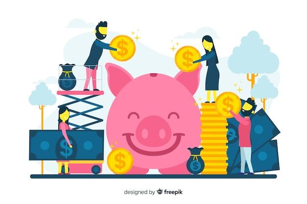 Oszczędność pieniędzy koncepcja tło
