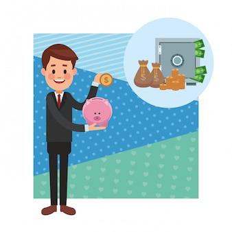 Oszczędność pieniędzy kreskówka