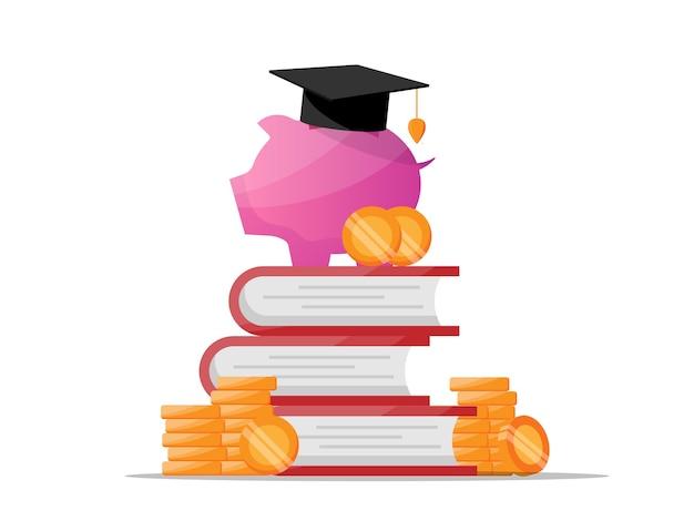 Oszczędność pieniędzy na edukację z płaską ilustracją skarbonki