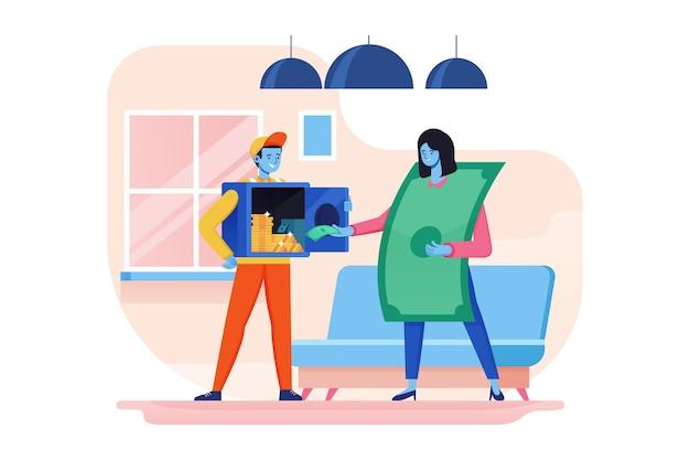 Oszczędność pieniędzy ubezpieczenia płaskie ilustracja koncepcja