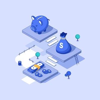 Oszczędność pieniędzykoncepcja oszczędzania pieniędzy z postaciami można użyć do infografiki banerów internetowych