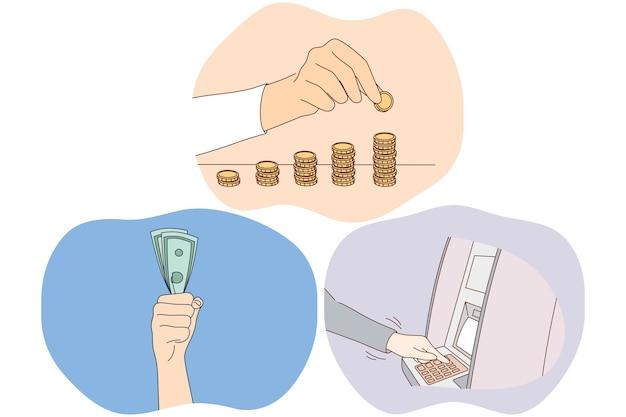 Oszczędności pieniędzy, zarabianie koncepcji bogactwa finansowego.