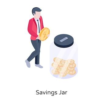 Oszczędności słoik izometryczny koncepcja ikona wektor edytowalny