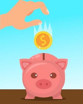 Oszczędności w piggy bank flat