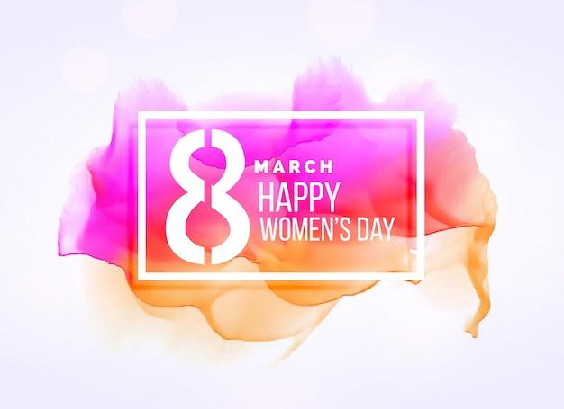 Oszczędny 8 marca womans dzień tła z mocą akwarela
