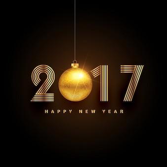 Oszczędny złoty napis 2017 z christmas ball