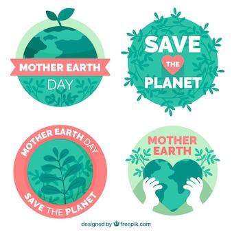 Oszczędź odznak ziemi na dzień ziemi