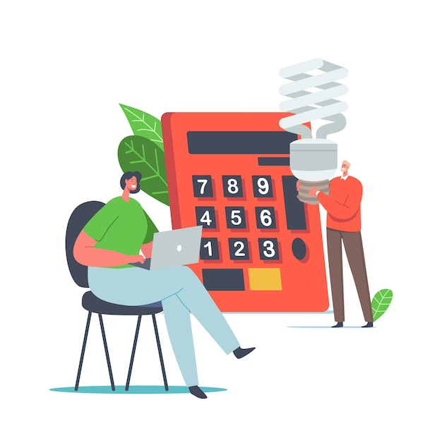 Oszczędzaj energię środowiska koncepcja. małe męskie i żeńskie znaki liczenia korzyści w ogromnym kalkulatorze, ludzie używają energooszczędnych lamp eco, kobieta pracująca na laptopie. ilustracja kreskówka wektor