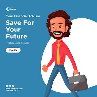 Oszczędzaj na przyszły projekt banera, korzystając z doradcy finansowego trzymającego teczkę i udającego się do biura