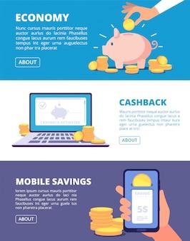 Oszczędzaj pieniądze banery finanse, giełda i inwestowanie biznesowe koncepcja bankowości i oszczędności