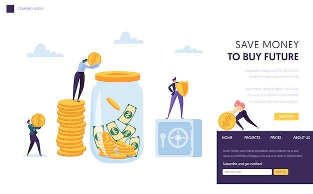 Oszczędzaj pieniądze bezpieczna strona docelowa