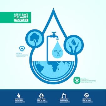 Oszczędzaj wodę dla ilustracji świata zielonej ekologii