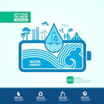 Oszczędzaj wodę dla zielonej ekologii ilustracji wektorowych świata