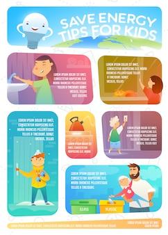 Oszczędzaj wskazówki energetyczne dla dzieci. infografika internetowa na temat oszczędzania energii.