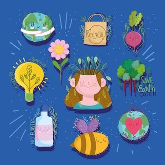 Oszczędzaj ziemię eko i przetwarzaj