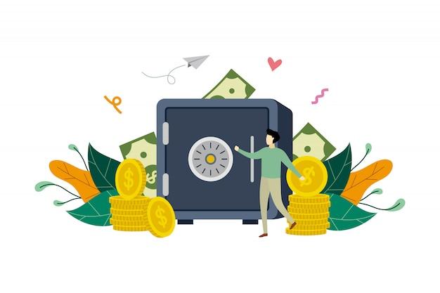Oszczędzanie pieniądze z bezpieczną skrytki pudełka ilustracją pojęcia