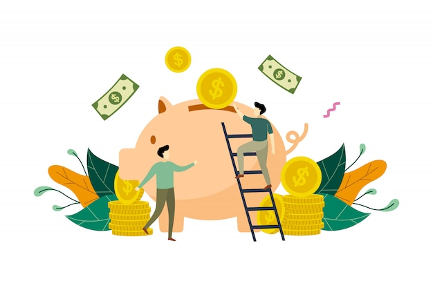 Oszczędzanie pieniądze z prosiątko banka pojęcia ilustracją