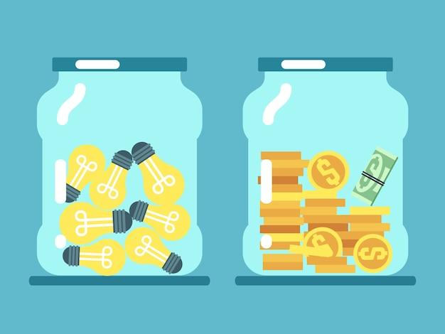 Oszczędzanie pieniędzy i pomysłów. monety i lampy w szklanych słojach ilustracyjnych