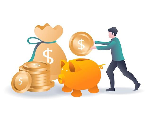 Oszczędzanie pieniędzy w skarbonce