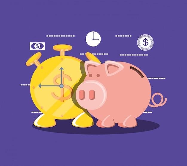 Oszczędzanie świnki i monety budzik