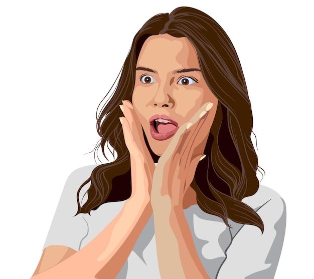 Oszołomiona młoda brunetka w białej koszulce. zaskoczony wyraz twarzy