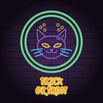 Oszukać lub potraktować neonowe światło projektowania ilustracji wektorowych głowy kota