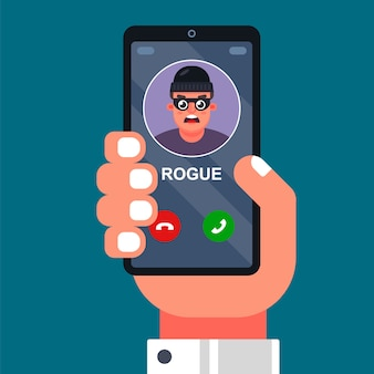 Oszust dzwoni na telefon komórkowy. wyłudzanie pieniędzy, oszukiwanie przez telefon. ilustracja wektorowa płaski