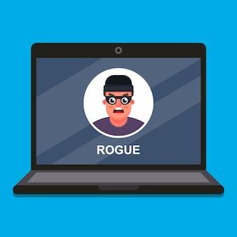 Oszust laptopa. kradzież danych. ilustracja wektorowa płaski