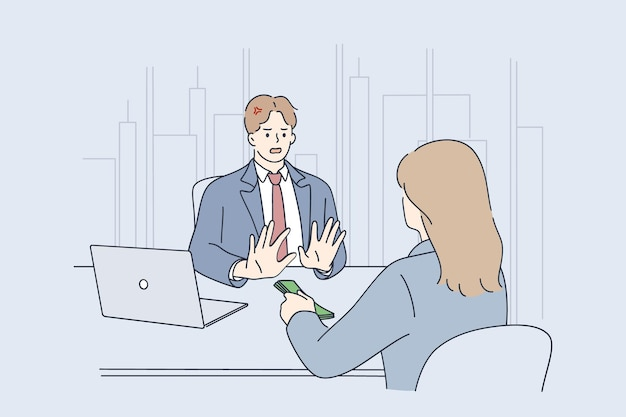 Oszustwa biznesowe, łapówki i ilustracja koncepcja nielegalnego biznesu
