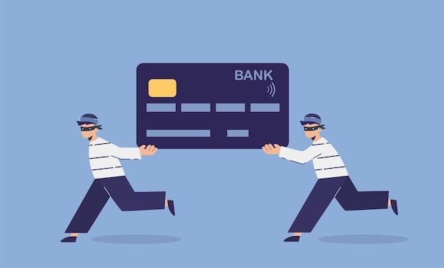 Oszustwa i kradzieże kart bankowych. koncepcja płaska ilustracja oszustw online bankowych kart kredytowych przez oszustów i hakerów. znaczenie bezpiecznych płatności.