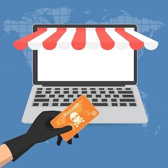 Oszustwa na karty kredytowej online płacąc sklep cyber pojęciem przestępczości.