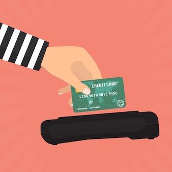 Oszustwo związane z kartami kredytowymi do płacenia za pomocą czytnika kart kredytowych.