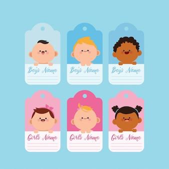 Otaguj i oznaczaj szablonem kawaii baby shower