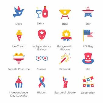 Oto paczka płaskich ikon amerykańskiego dnia niepodległości, konceptualizujących obchody czwartego lipca dzięki atrakcyjnym wizualnie. chwyć i używaj zgodnie z potrzebami swojego projektu.
