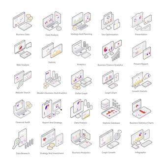 Oto pakiet ikon izometrycznych do analizy danych, które przedstawiają interfejs analizy danych. edytowalne ikony są tutaj dla potrzeb projektu.