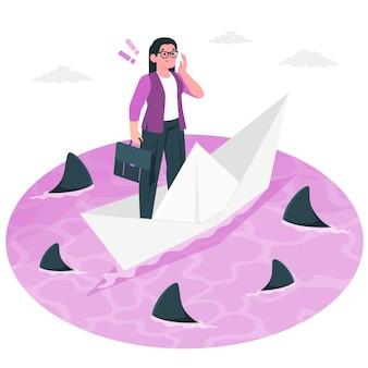 Otoczony ilustracją koncepcji rekinów