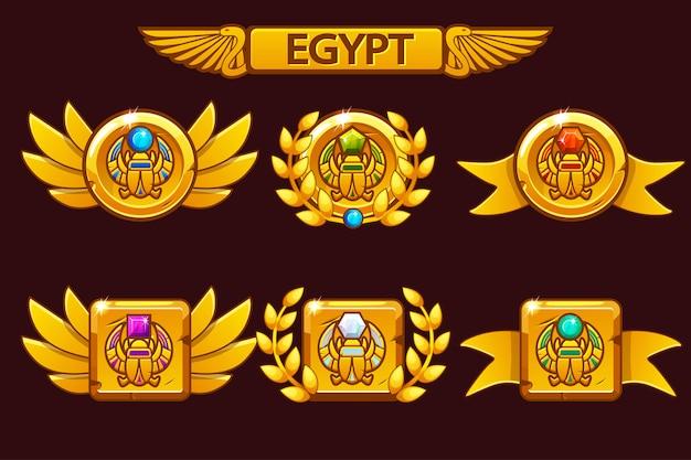 Otrzymanie osiągnięcia w grze kreskówkowej. egipskie nagrody z symbolem skarabeusza. do gry, interfejsu użytkownika, banera, aplikacji, interfejsu, automatów, tworzenia gier.