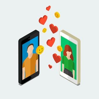 Otrzymywanie lub wysyłanie e-maili miłosnych, związek na odległość. izometryczne telefony z sercami. płaska konstrukcja, ilustracja