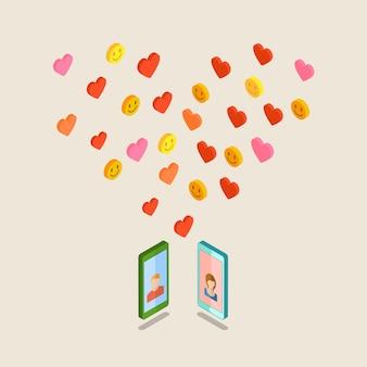 Otrzymywanie lub wysyłanie miłosnych e-maili i smsów na walentynki.