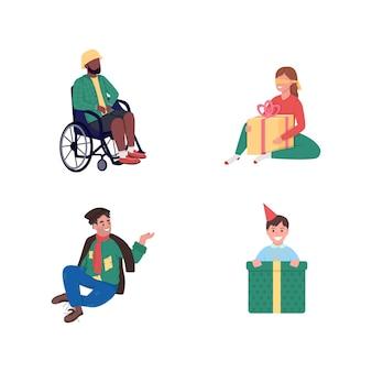 Otrzymywanie prezentów charytatywnych w płaskim kolorze, szczegółowy, bez twarzy zestaw znaków. otrzymaj prezent niespodziankę.