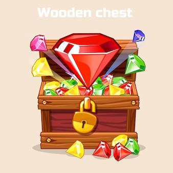 Otwarta antyczna skrzynia skarbów z diamentami