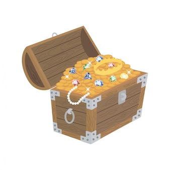 Otwarta drewniana skrzynia ze skarbami