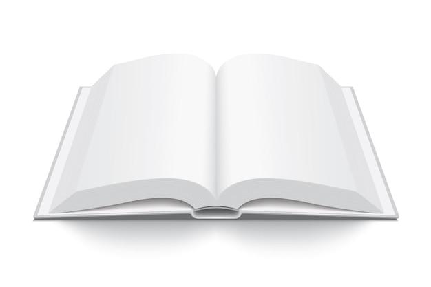 Otwarta gruba biała książka z twardą okładką na białym tle