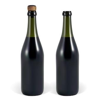 Otwarta i zamknięta butelka wina musującego lub szampana