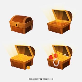 Otwarta i zamknięta kolekcja skrzyń skarbów