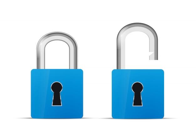 Otwarta i zamknięta niebieska realistyczna ikona kłódki na białym tle