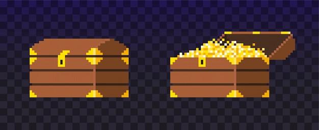 Otwarta i zamknięta skrzynia skarbów pixel. skrzynia wypełniona monetami do gry wideo. świeć złotymi pieniędzmi. bogactwo.
