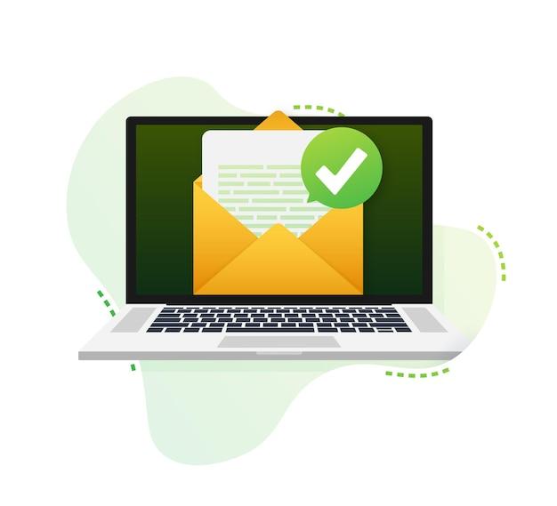 Otwarta koperta i dokument z zielonym znacznikiem wyboru. e-mail weryfikacyjny. ilustracja wektorowa.