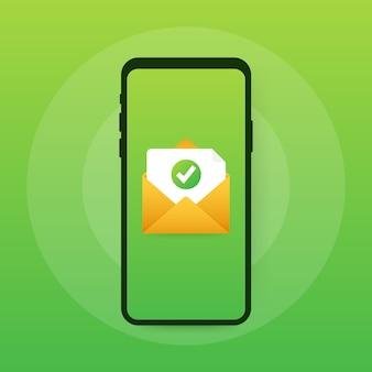 Otwarta koperta i dokument z zielonym znacznikiem wyboru. e-mail weryfikacyjny
