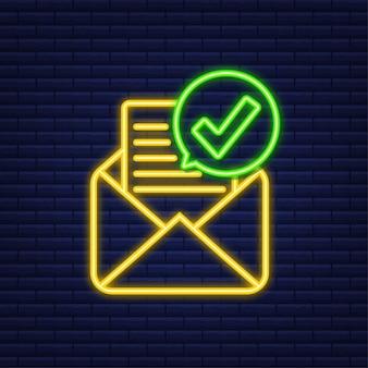 Otwarta koperta i dokument z zielonym znacznikiem wyboru. neonowa ikona. e-mail weryfikacyjny. ilustracja wektorowa.